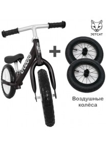 Cruzee UltraLite Balance Bike (Black) + Air Wheels JETCAT
