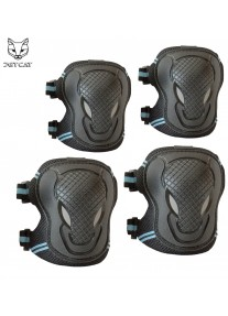 Комплект защиты - 2 в 1 - JETCAT (чёрная с синий) детская локтей и коленей