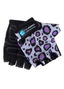 """Перчатки детские защитные (без пальцев) - Crazy Safety - Purple Leopard (сиреневый леопард) - """"S"""" - 7см"""