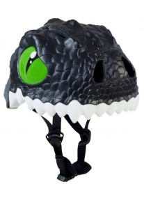 Шлем детский Black Dragon Crazy Safety 2017 (чёрный дракон-динозавр) велосипедный для мальчика