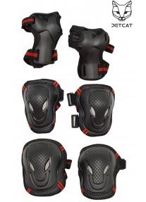 Комплект защиты 6 предмета  3 в 1 JetCat Sport (Черная с красным) защита локтей и колен