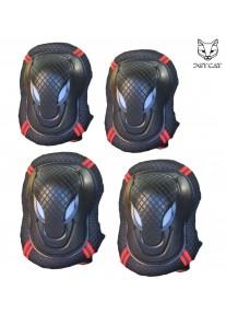 Комплект защиты 4 предмета  2 в 1 JetCat Sport (Черная с красным) защита локтей и колен
