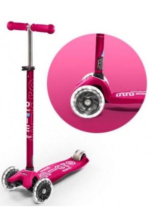 Самокат Micro Maxi Micro Deluxe LED Pink T (MMD077) розовый светящиеся колеса