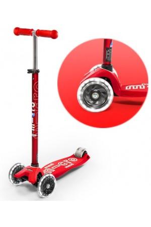 Самокат Micro Maxi Deluxe LED Red T (MMD068) красный светящиеся колеса