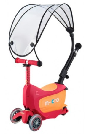 Самокат Micro Mini2GO Deluxe Plus Rubin Red с навесом (MMD059) красный