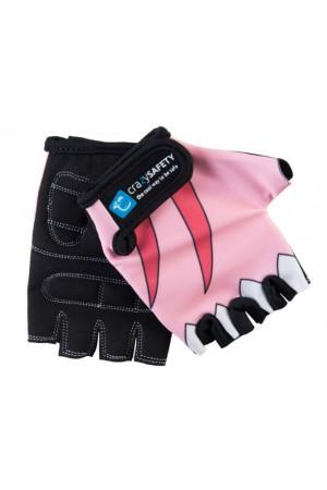"""Перчатки детские защитные (без пальцев) - Crazy Safety - Pink Shark (розовая акула) - """"S"""" - 7см для беговела - самоката или велосипеда"""
